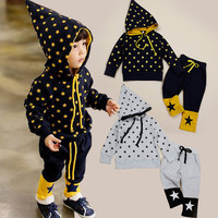 W91500A 2015 spring summer children clothes sets kids long sleeve hoodie jackets and pants sets boy sports stars suits