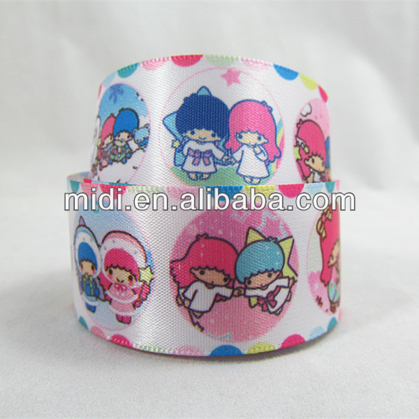"1"" Customize Twin Star Satin Ribbon Lovely Children Series Ribbon"