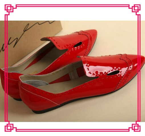 2014 spring summer new style bridal red Pu flats shoes women cheap shoes wholesale ladies flat sole wedding shoes