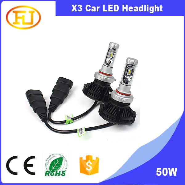 auto led headlight 9005 hb3 3000K 6500K 8000K All in one led X3 Car LED Headlight