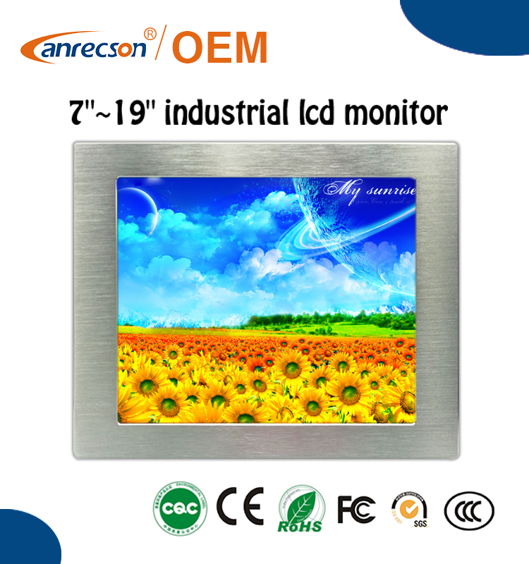7 inch industrial lcd monitor with abundent interface DVI ,VGA and HDMI,BNC optional