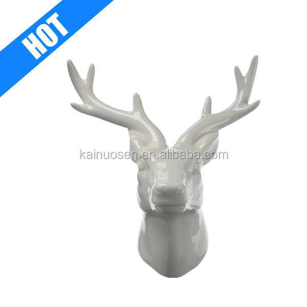 white color galzed wall decorative ceramic deer head