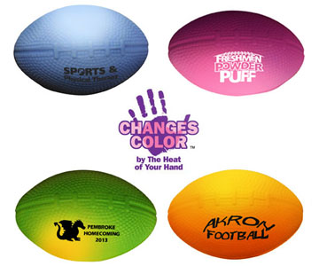 Mini mood stress football. Changes colour with the heat of your hand.