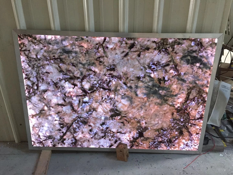Decorstone24 Factory Directly Multi Color Iridescent Luxury Stone Backsplash Semi Precious Stone Slabs Backlit Customized