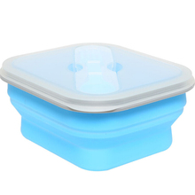 600ml Microwave Safe foldable Silicone Lunch Box Collapsible Silicon Food Storage Container with spoon fork