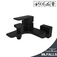 Modern style plating black bathroom wall mounted faucet mixer tap wholesale MLFALLS
