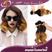 qingdao special technique high quality best selling tangle free ombre hair weaves ombre color human hair weft