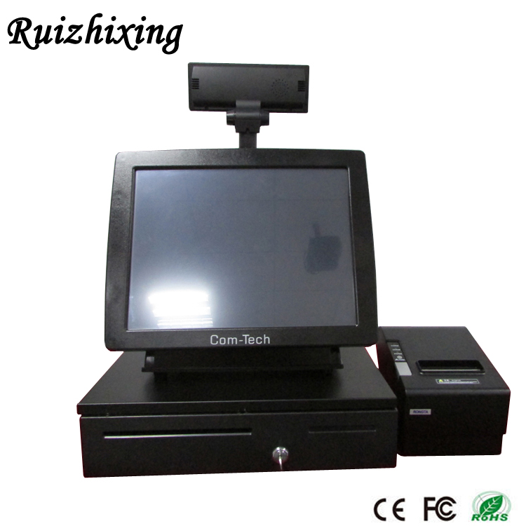 "15"" 5-wire EPOS Touch Screen pos terminal All in One Retail Store Pos System Touch Cash Register with Thermal printer+scannner"