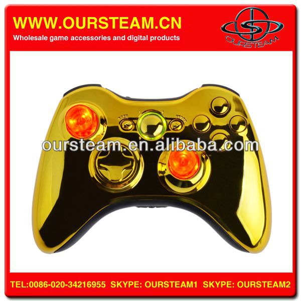 Chrome Golden Video Game Controller For XBOX 360 Wireless
