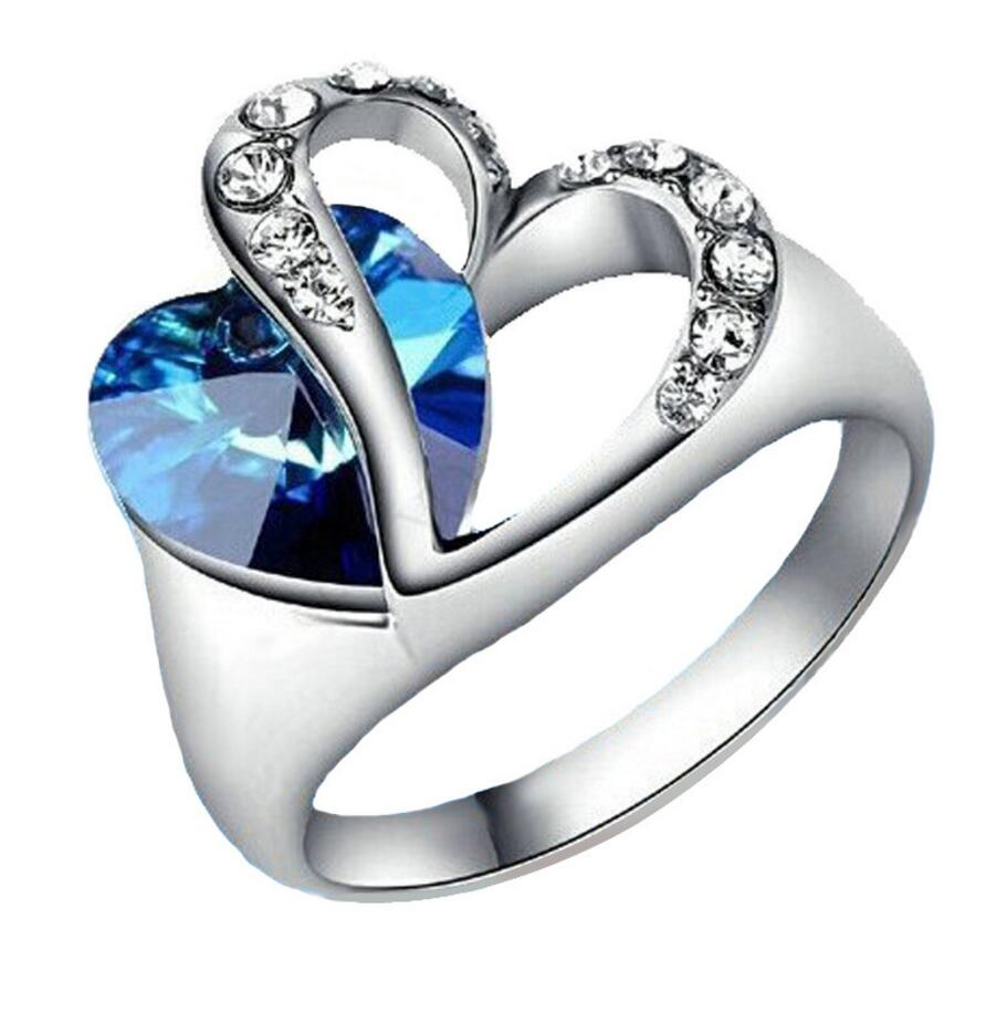 Wholesale 18K White Gold Platinum Plated Titanic Heart Of Ocean Ring Blue Crystal Heart Wedding Ring