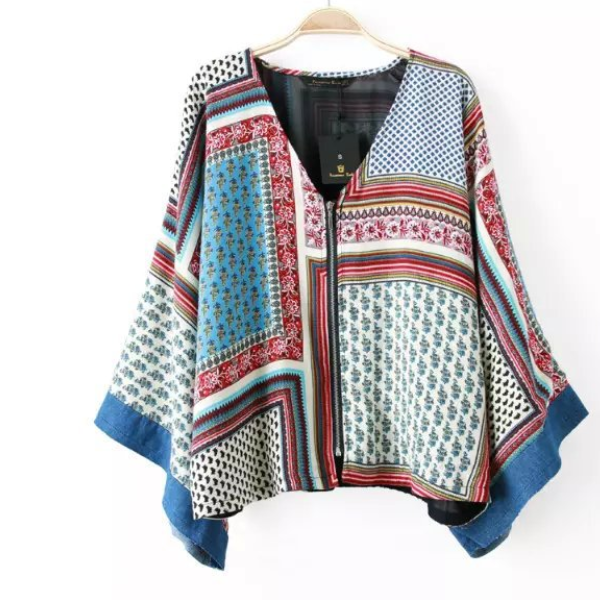 MS71013L Fashion designed women batwing sleeve vintage printed tops ladies western tops