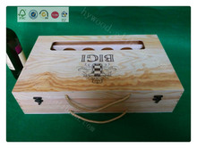 6 bottle pine wood wooden box for shipping wine glass bottle carrier 12 bottle wholesale