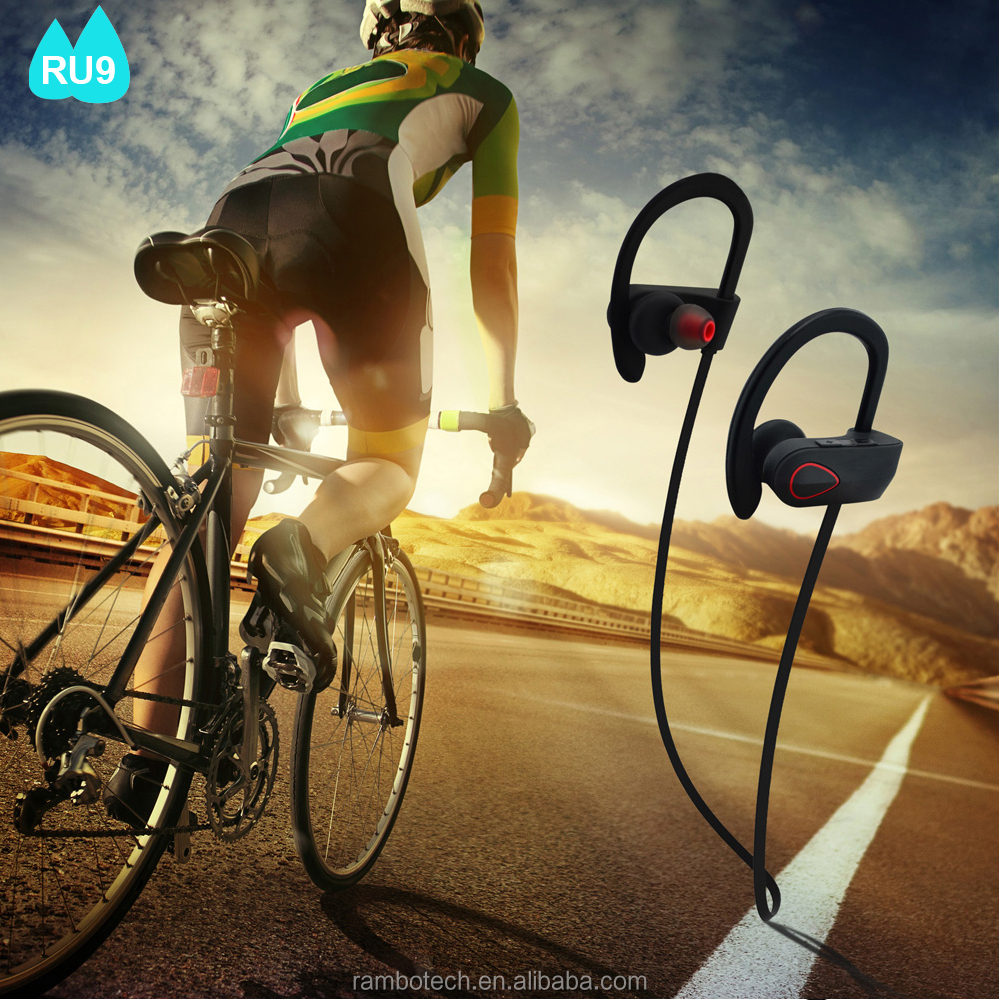 Novelty Stereo Sport Neckband Earphone Bluetooth Adapter Bulk Wireless Headphone RU9