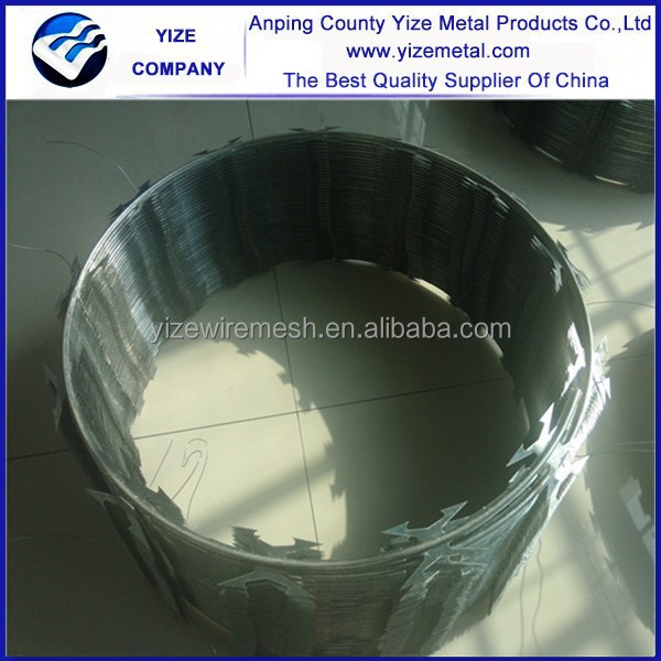 Dipped galvanized and electric galvanized razor wire installation in anping in china
