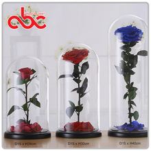 Wholesale Forever Rose In Glass Dome D15xH26cm / D15xH30cm / D15x40cm