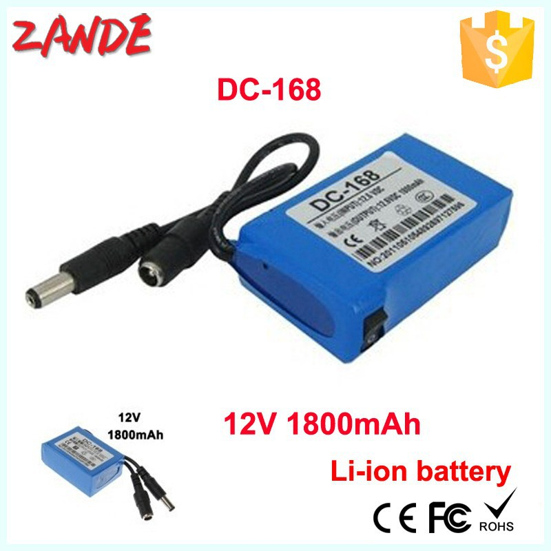 Wholesales DC-168 1800mAh Polymer 12v small rechargeable li-ion battery for GPS,Lan router, LED light,CCTV