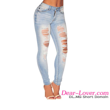 Sexy Fashion Lady Light Denim Ripped Skinny Jeans