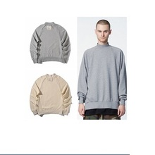 Ribbed Collar Extra Size Plain Side Zipper Men Sweatshirt