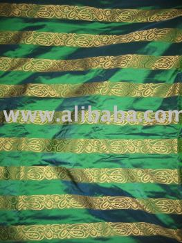 Iridescent peacock green colour with gold paisleys jacquard design~SILK TAFFETA FABRIC 54""
