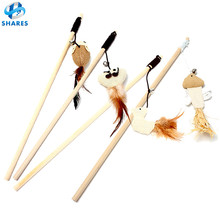 High quality natural wood cat toy mouse cute Linen mouse plush cat toy Pet Cat Teaser Stick toy