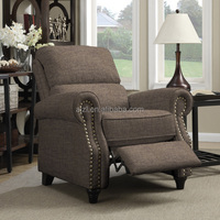 Brown Linen Push Back Recliner Chair