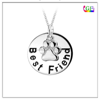 Custom metal Best Friend Message Dog Paw Charm Circle Pendant silver Necklace