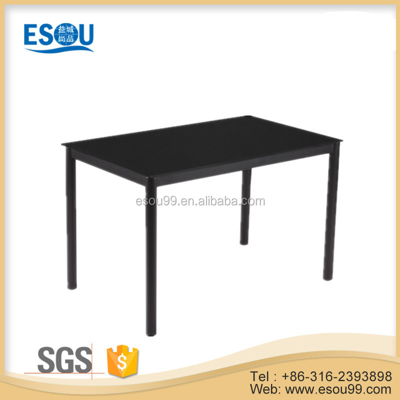 Kitchen Room Furniture Black Paint Wooden MDF Metal Dining Table