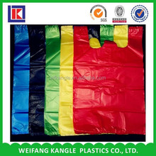 Hot sale hdpe foldable polythene cheap T-shirt plastic bag on roll for grocery