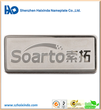 China manufacture embossed metal brand name logo sticker stainless steel sticker logo