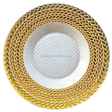 Wholesale Wedding Decoration Glass Gold Charger Plates
