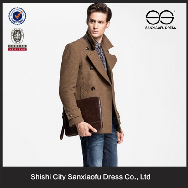 Wholesale Mens Cheap Winter Classic Brown Long Double-Breasted Wool Pea Coat