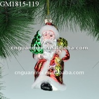 christmas decoration hanging glass santa claus