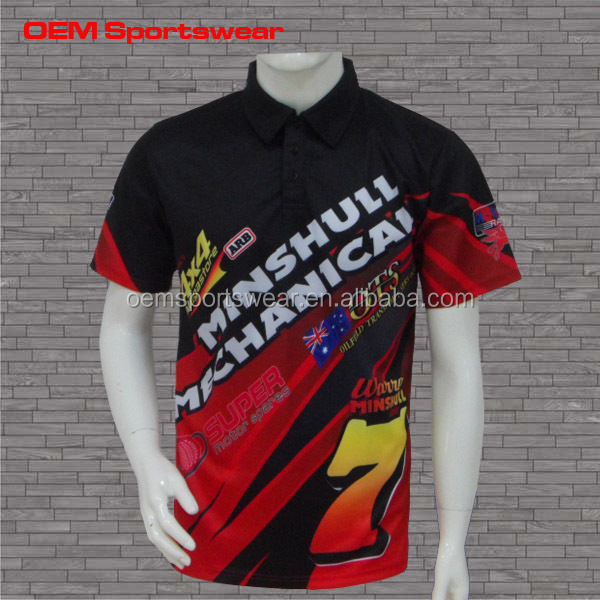 Short sleeve team custom racing pit crew shirts