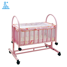 Safety Design Iron Tube Swinging Baby Cot Bed With Mosquito Net