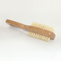 Double-faced manicure dust brush /wood&bristles nail cleaning brush with handle /nail art cleaning brush for finger exfoliating