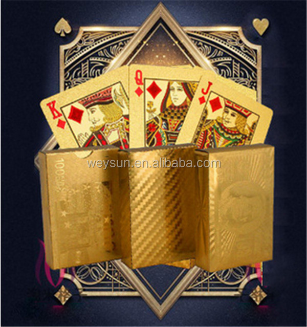 Certified pure 24 K carat gold foil plated poker playing <strong>card</strong>