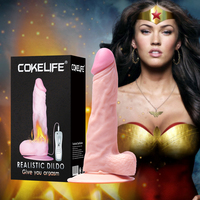 OEM Rotating Vibrating real skin feeling warm silicone dildo for women