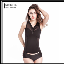 Slimming Vest Body Shaper for Women Fir Ultra Slim Tummy and Thigh Breathable Mesh Body Shaper Black