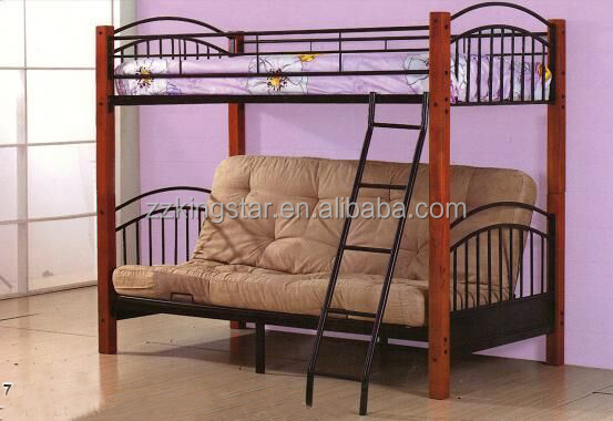 Cheap hotel used metal bunk bed frame folding sofa bunk bed for sale