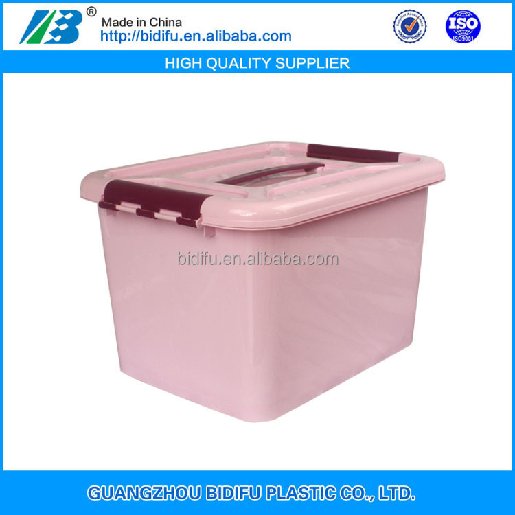 online shopping food storage storage plastic box plastic crate with lid and wheel for sale China factory