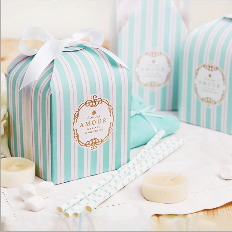 Blue and white stripes fine small gift box spot wholesale bakery bakery cookie packaging paper box made to order