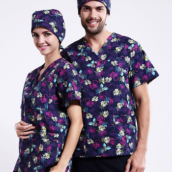 Hot Sale Stylish Cotton Printed Hospital Wear Printed Medical Uniforms