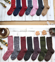 Japanese new pants piled socks burst cotton long solid color double needle coarse wool socks wholesale