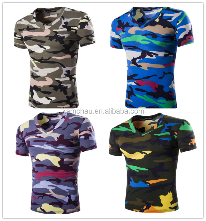 Newest arrival model camo print V-neck oversize combed cotton jersey casual tees womens couple t-shirts