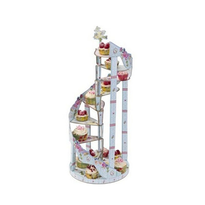 2015 New style scrumptious spiral staircase cake stand disposable pink decorative folding paper stand supplier