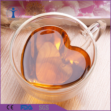 China Factory Wholesale loving Heart Shaped Home Goods Double Wall Glass <strong>cup</strong>