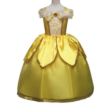 Girl's Golden Pompous Princess Dress Children's Costume Dress Up For Christmas Girls Party Dresses