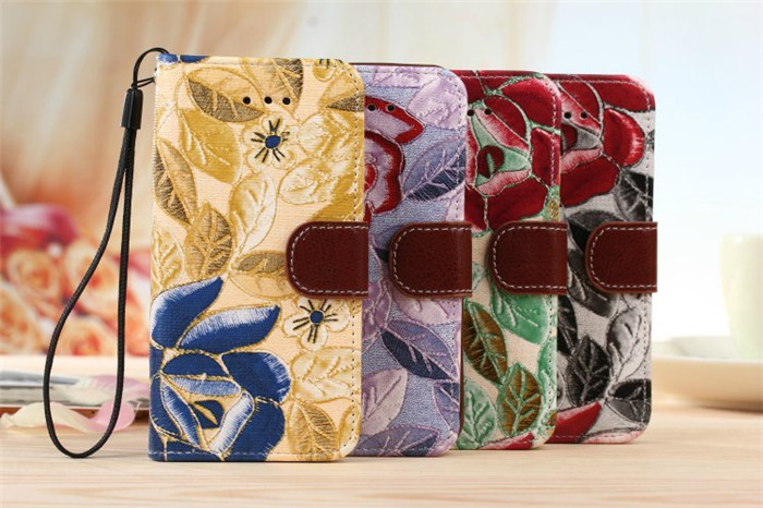 Factory wholesale colorful leather wallet flip case for iphone 5 5S 5SE