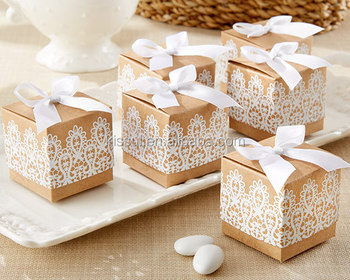 Newest Wedding candy box of Rustic & Lace Kraft Favor Box For Party favor box