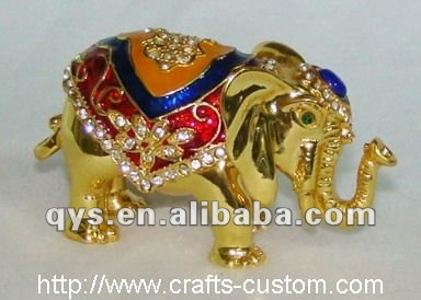 Golden Elephant Jewelry Box with Glossy Surface